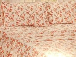 NEW 100% Cotton QUEEN Sheet Set ~BLUSH~ Pink Floral Cottage Shabby Chic ... - $55.00