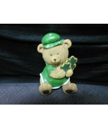 "Sitting Bear Ceramic Holding Shamrocks 4"" St. Patrick's Day - $10.84"