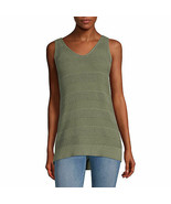 a.n.a. Women's V-Neck Sleeveless Pull Over Sweater MEDIUM Willow Green C... - $22.76