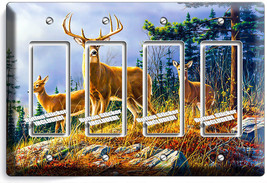 Whitetail Deer Buck 4 Gang Gfci Light Switch Wall Plate Hunting Cabin Room Decor - $19.79