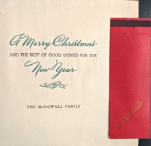 RODDY MCDOWALL Christmas Card Matchbook Personalized 1945 Family War Years - $49.50