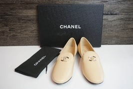 100% Authentic NEW Chanel Beige Slip On Crystal CC Logo Loafers Shoes Flats