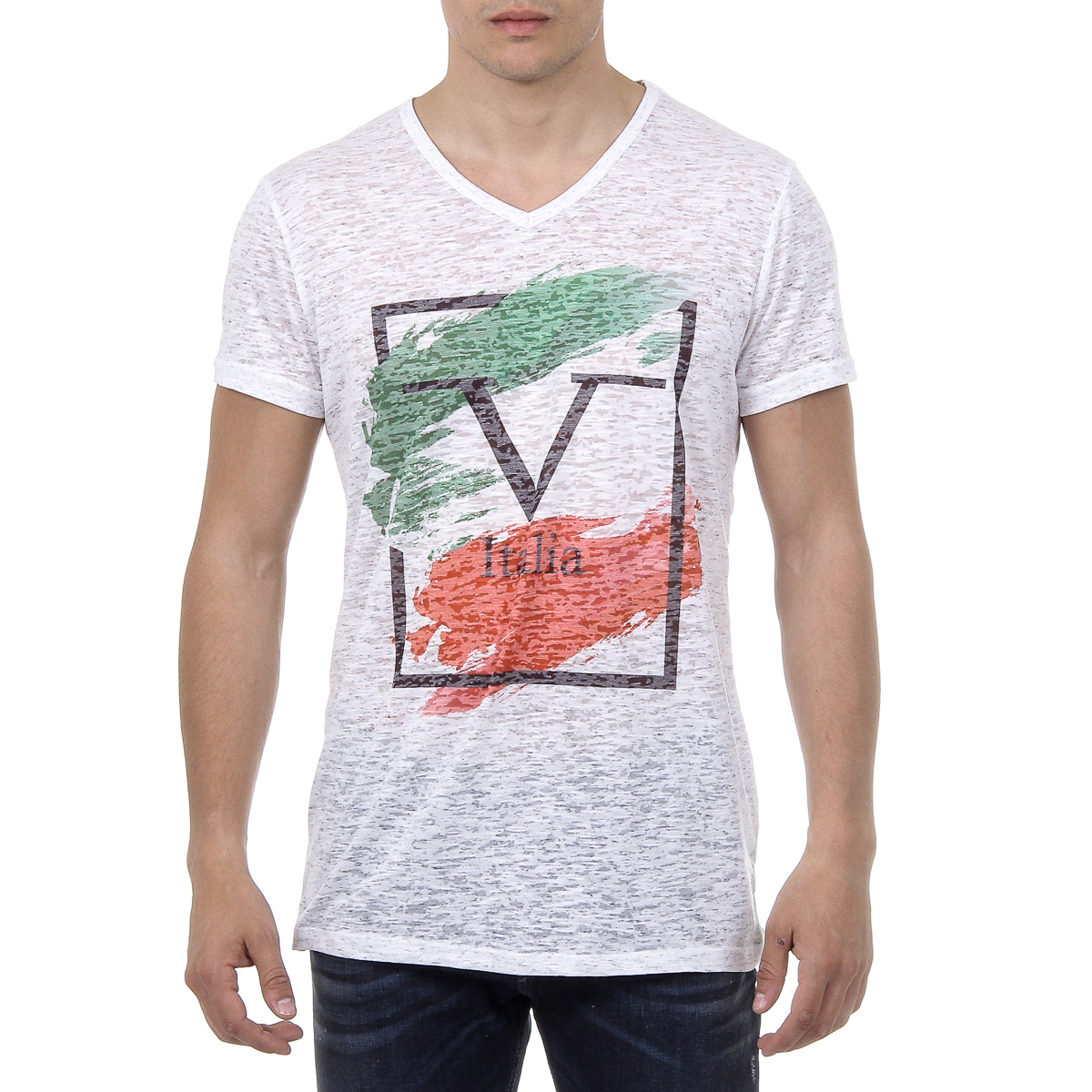 Primary image for V 1969 Italia Mens T-shirt Short Sleeves V-Neck White LUCAS