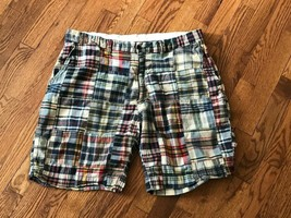 Mens Size 38 POLO Ralph Lauren Plaid PATCHWORK Madras Cotton Shorts Flatfront - $28.04