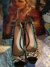 Enzo Angiolini Wild Zebra Calf Hair Peep Toe Pumps Size 9M - $24.75