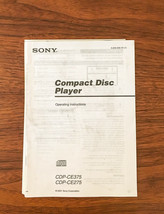 Sony CDP-CE375 CDP-CD275 CD Player Owners Manual *Original* #3 - $13.97