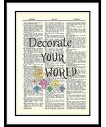 Decorate Your World Dictionary Art Quote Upcycle Print    quote010 - $10.99