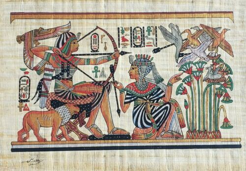 Primary image for Egyptian Pharaoh King Tut & Queen Hunting Egypt Kemet Papyrus Nile Art Painting