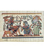 Egyptian Pharaoh King Tut & Queen Hunting Egypt Kemet Papyrus Nile Art P... - $138.59