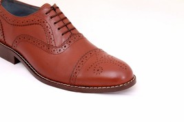 Handmade Men's Burgundy Two Tone Cap Toe Brogues Dress Oxford Leather Shoes image 1