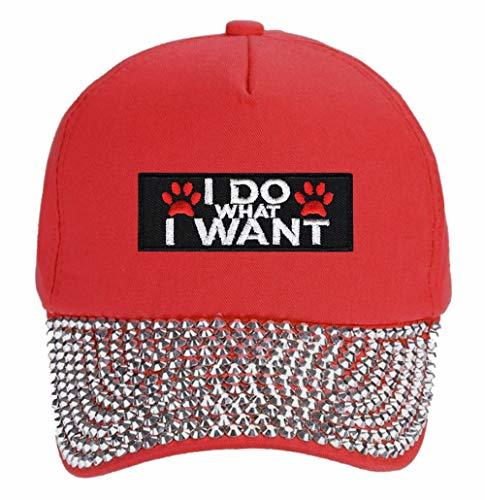 I Do What I Want Pawprints Hat - Funny Cap For A Dog Woman (Red Studded)