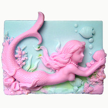 Mermaid Wendy with Fish – Detail of high relief sculpture - Silicone Soa... - $23.56