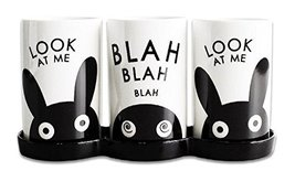 PUKO Rabbit Illustration Flatware 3-Hole Stand Holder, Organizers for Spoon, Kni