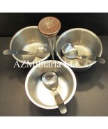 3 Bowl Condiment Server Set Stainless Steel Retro Danish Modern Condimen... - $14.75