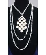 Vintage CROWN TRIFARI White Lucite Pendant Necklace  - $80.45