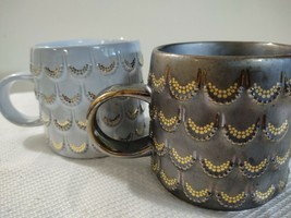 Starbucks 20 Oz Coffee Mugs Lot Of 2 (Grey & Brown) With Gold Frills The... - $25.25