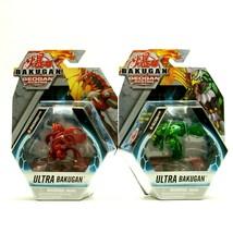 Ultra Bakugan RED PYRUS DRAGONOID & Green FALCRON Geogan Rising Figure Pack - $34.29