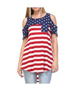 Summer 2018 Womens Tops and Blouses Tunic American Flag Print Pocket Col... - $42.40