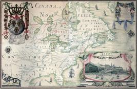 1909 Map Quebec Canada Carte de l'Amerique Septentrionnale Wall Poster Vintage - $13.00+