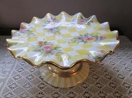 MACKENZIE- CHILDS Green Check Ceramic Honeymoon Cake Plate Stand- Many p... - $391.05
