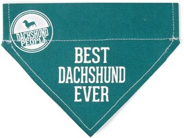 "Best Dachshund Ever Dog Bandana New Teal Slip On Over Collar 7"" x 5"" Sma... - $9.89"