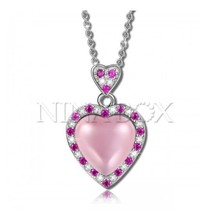 PinkSweetheart 925 Sterling Silver Inlaid with Rose Quartz Heart Shaped Necklace - $16.83