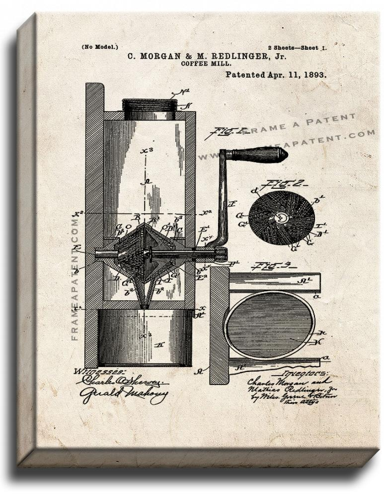 Primary image for Coffee Mill Patent Print Old Look on Canvas