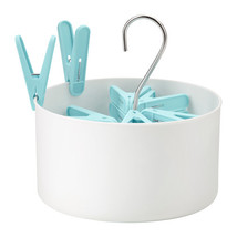 TORKIS Peg basket with 30 clothes pegs, in/outdoor white, blue - $14.00