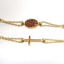 NECKLACE ROSARY YELLOW GOLD 750 18K, MEDAL MIRACULOUS CROSS, SPHERES YOU WORK image 3