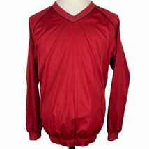 FootJoy Golf V-Neck Pullover Jacket Medium Red Black Long Sleeve Water Resistant - $39.50