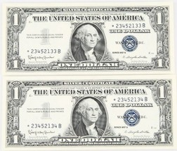 Lot of 2 Consecutive 1957 $1 Silver Certificate ☆ Star Notes UNC Condition - $117.81