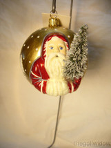 Vaillancourt Folk Art Red Village Santa with Tree on Gold Ornament image 2