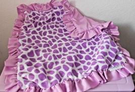 Carters Cow Spot Print Security Blanket Ruffle Baby Lovey Purple White N... - $10.12