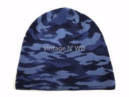 GAP Unisex Allover Blue Military Army Camo Wool Blend Beanie Cap Hat Ski - $14.99