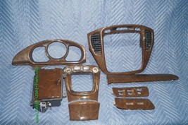 01-07 Toyota Highlander Woodgrain Dash Trim Kit Vents Console 8pc image 1
