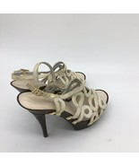 Jessica simpson heels, White/ Gold , Wooden Base, Size, 7.0B - $19.80