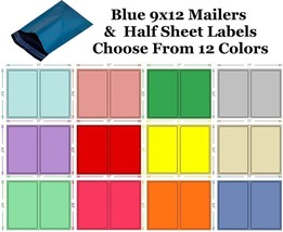 9x12 ( Blue ) Poly Mailers + Colored Half Sheet Self Adhesive Shipping L... - $2.99+