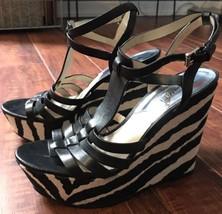 Michael Kors Shoes Ladies Zebra Platform Wedge Heel Spring Free Shipping - $56.74