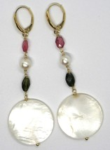 18K YELLOW GOLD PENDANT EARRINGS, MOTHER OF PEARL DISC, GREEN RED TOURMALINE  image 2
