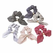 6 Pcs Stripe Rabbit Ears Ribbon Hair Scrunchies Elastics Hair Band Knotted Hair
