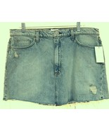 HUDSON JEANS Vivid Distressed Frayed Hem Short Cotton Denim Skirt Sz 31 NEW - $44.09