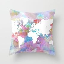 Throw Pillow Cushion case Made in USA Design 48 World Map art L.Dumas - $29.99+