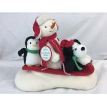 Hallmark Jingle Pals Snowman Sleigh Ride Musical Animated Sled Penguin D... - $24.18