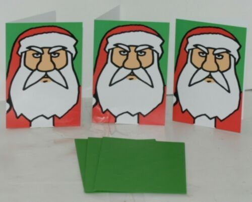 Hallmark ZX 103 3 Angry Santa Christmas Card Green Envelope Package 3