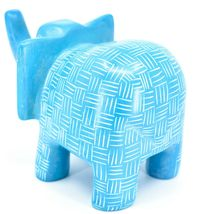 Vaneal Group Hand Crafted Carved Soapstone Large Heavy Blue Elephant Sculpture image 3