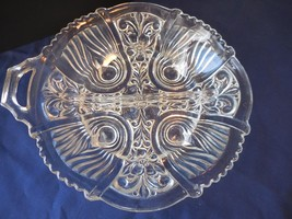Indiana Glass Killarney One Handle Scalloped Divided Dish Clear Pressed - $9.99