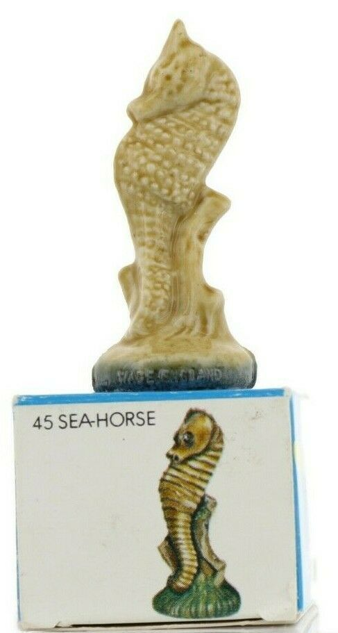 No.45 Seahorse Miniature Porcelain Figurine Picture Box Whimsies by Wade