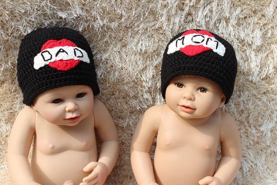 9d4e8d15ea9 Knit Crochet Newborn Baby Child Kids Twins Tattoo Heart Hat Cap Beanie 2  Hats