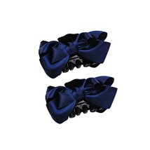 2Packs Handmade Satin Bow-knot Jaw Clip Elegant Hair Claws, Navy Blue - $12.07