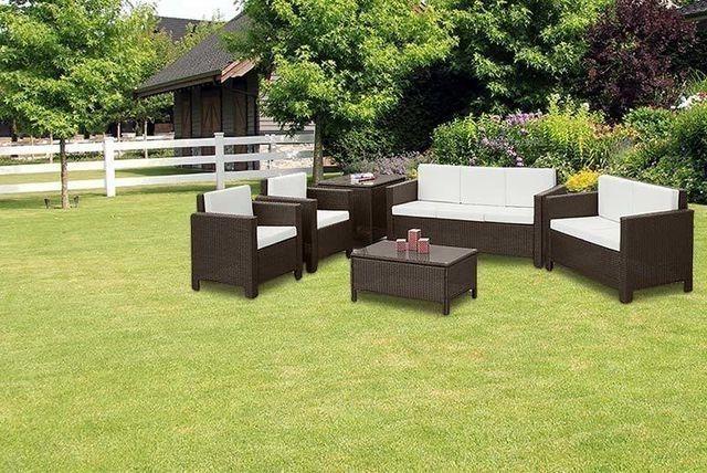 XL Outdoor Brown Rattan Sofa Set Contemporary Garden Sofa Chair Table Patio Set
